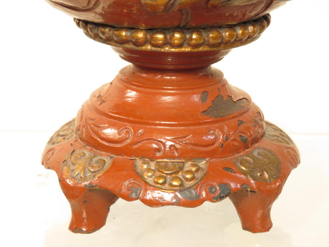 PAIR CHINESE QING DYN RED LACQUER WARE CANDLEHOLDE - 4