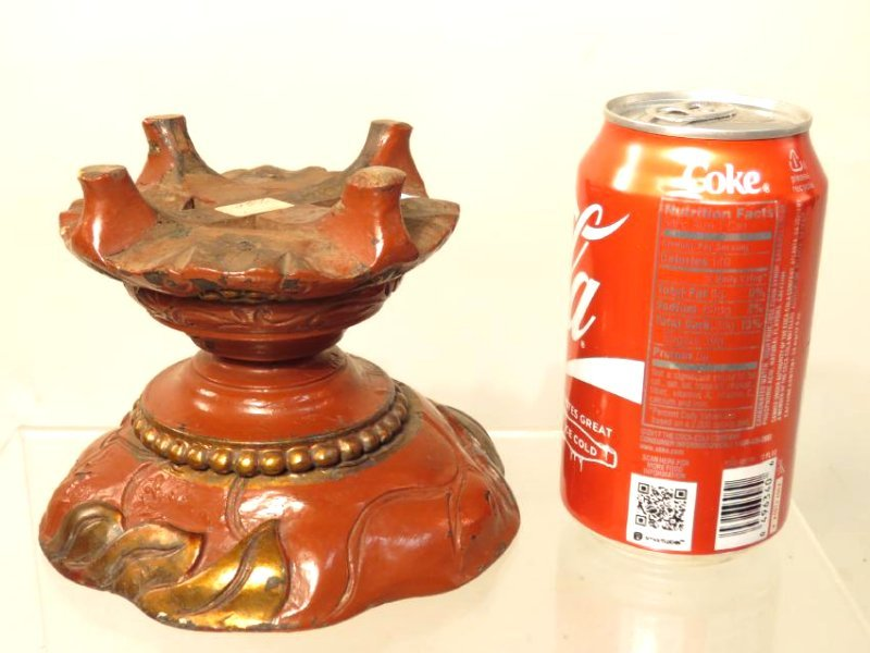 PAIR CHINESE QING DYN RED LACQUER WARE CANDLEHOLDE - 6