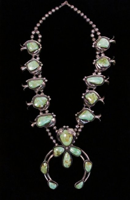NAVAJO SILVER & TURQUOISE SQUASH BLOSSOM NECKLACE
