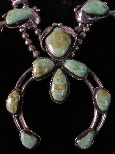 NAVAJO SILVER & TURQUOISE SQUASH BLOSSOM NECKLACE - 2