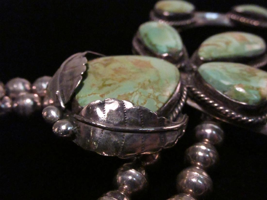 NAVAJO SILVER & TURQUOISE SQUASH BLOSSOM NECKLACE - 3