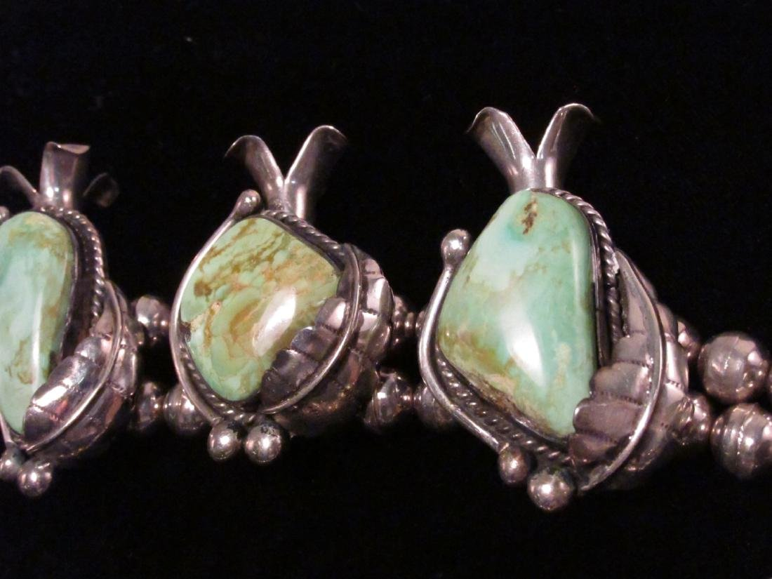 NAVAJO SILVER & TURQUOISE SQUASH BLOSSOM NECKLACE - 4