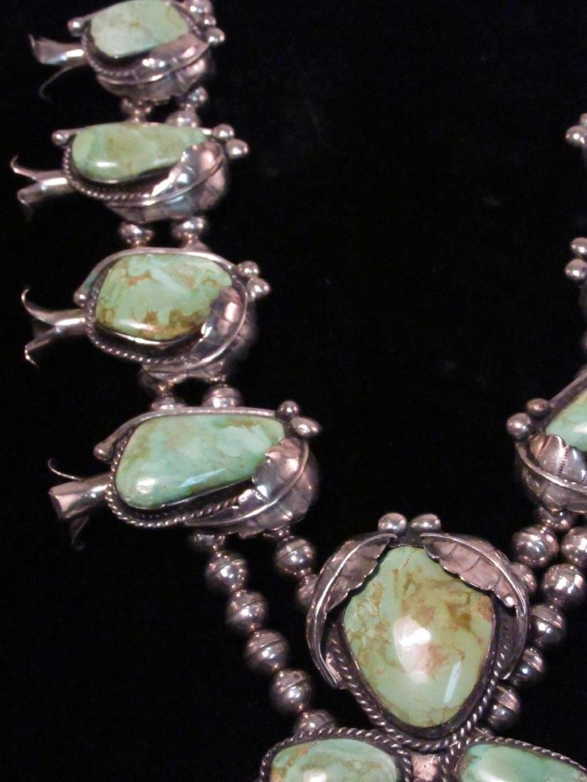 NAVAJO SILVER & TURQUOISE SQUASH BLOSSOM NECKLACE - 5