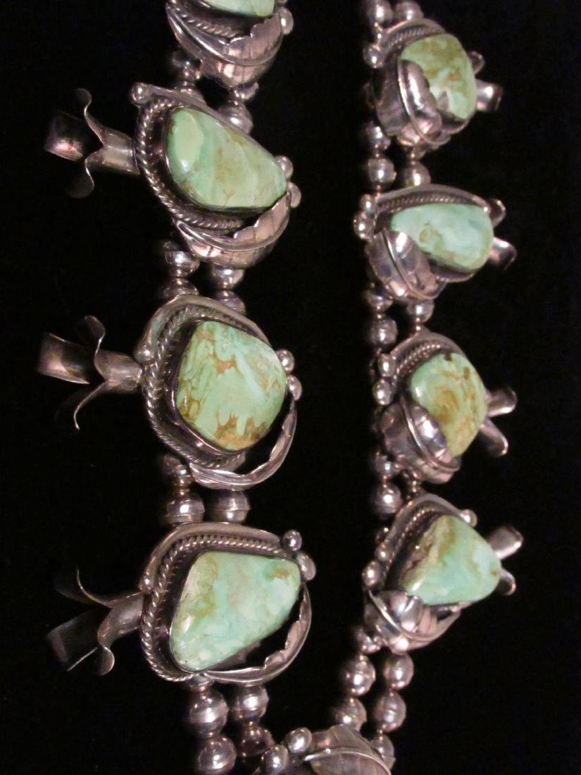 NAVAJO SILVER & TURQUOISE SQUASH BLOSSOM NECKLACE - 6