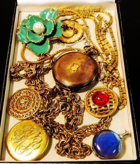 TRAY LOT VINTAGE & ANTIQUE JEWELRY GOLD FILLED ETC
