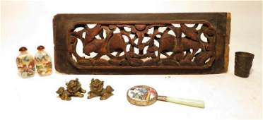 SMALL GROUPING OF CHINESE ANTIQUES: BRONZE ETC