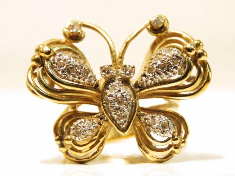 LADIES 14K YELLOW GOLD & DIAMOND RING SIZE 6.5