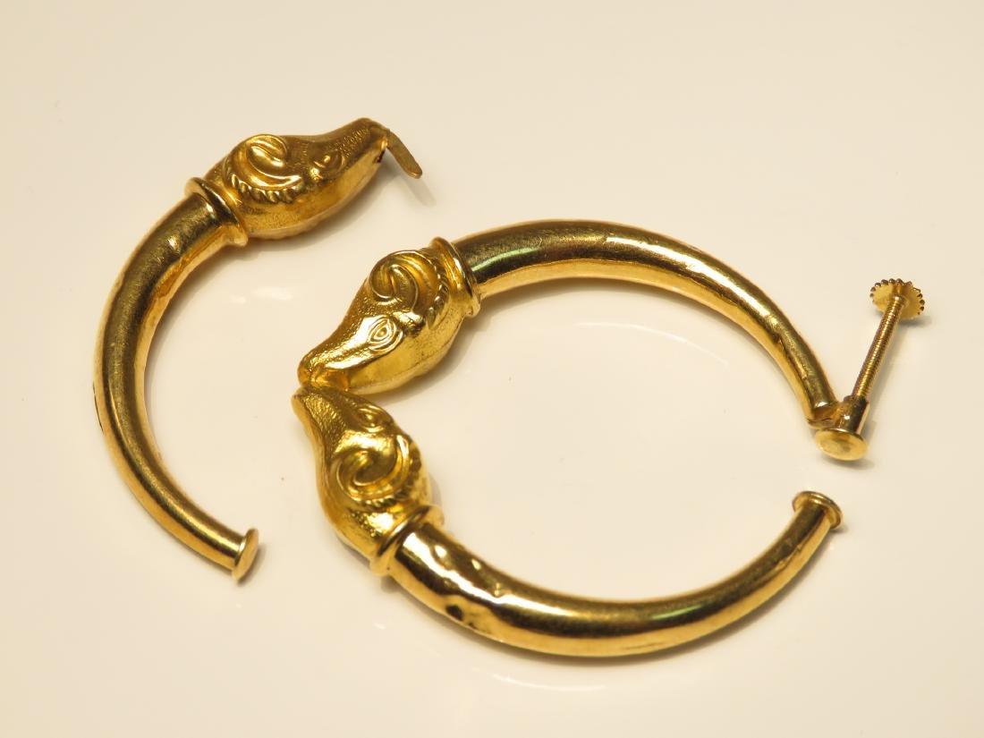 LADIES 18K GOLD DAMAGED RAMS HEAD HOOP EARRINGS - 2