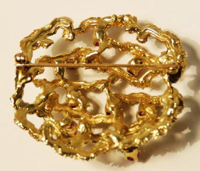 LADIES 14K YELLOW GOLD & RUBY BROOCH 19.7 GRAMS - 2