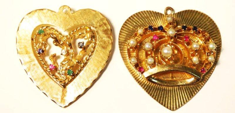 TWO 14K YELLOW GOLD & GEMSTONE HEART PENDANTS