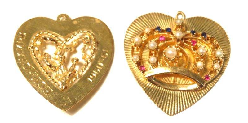 TWO 14K YELLOW GOLD & GEMSTONE HEART PENDANTS - 2