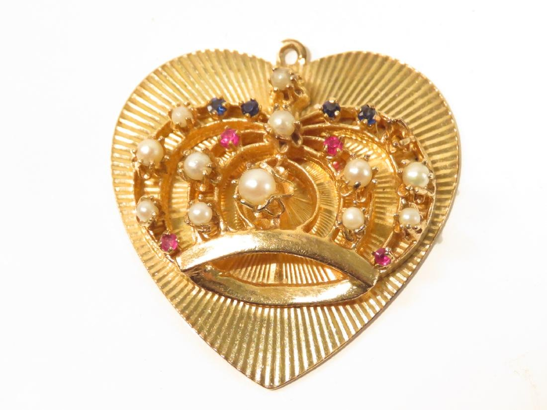 TWO 14K YELLOW GOLD & GEMSTONE HEART PENDANTS - 3