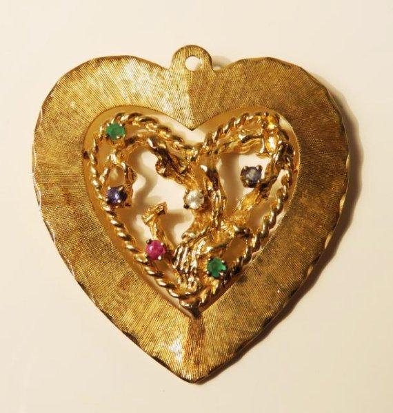 TWO 14K YELLOW GOLD & GEMSTONE HEART PENDANTS - 5
