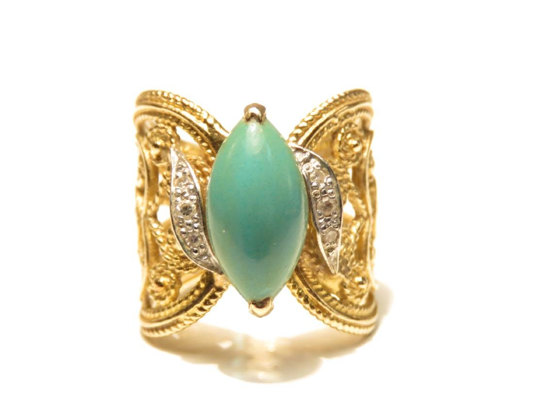 LADIES 10K GOLD DIAMOND & TURQUOISE COCKTAIL RING