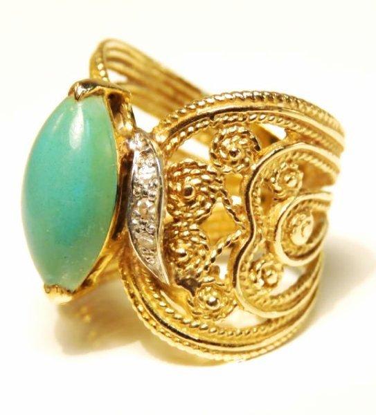 LADIES 10K GOLD DIAMOND & TURQUOISE COCKTAIL RING - 2