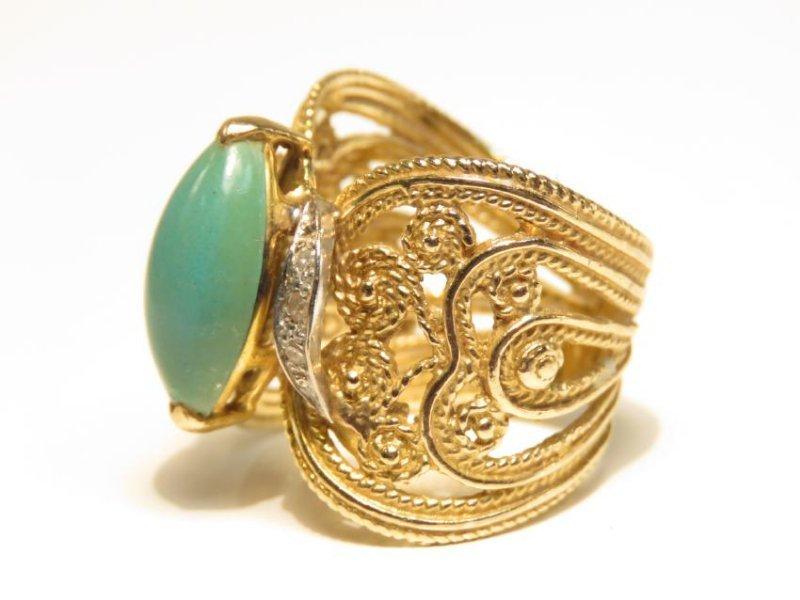LADIES 10K GOLD DIAMOND & TURQUOISE COCKTAIL RING - 4