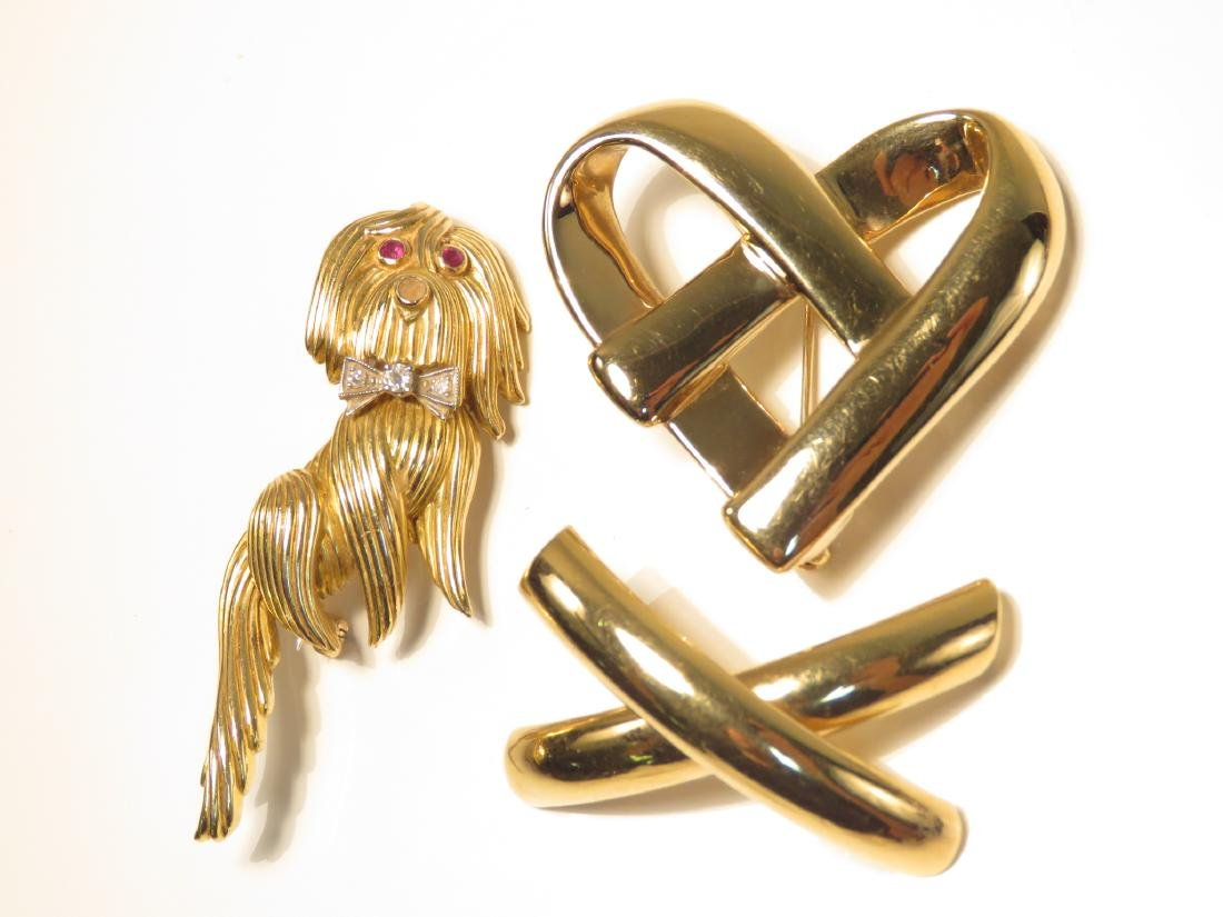 THREE LADIES 14K YELLOW GOLD BROOCHES