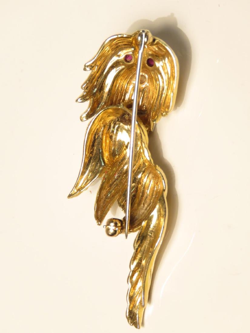 THREE LADIES 14K YELLOW GOLD BROOCHES - 5
