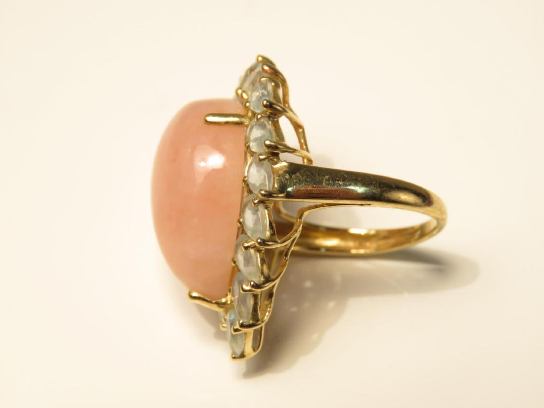 LADIES 14K Y GOLD & PINK JADE COCKTAIL RING SZ 6 - 3
