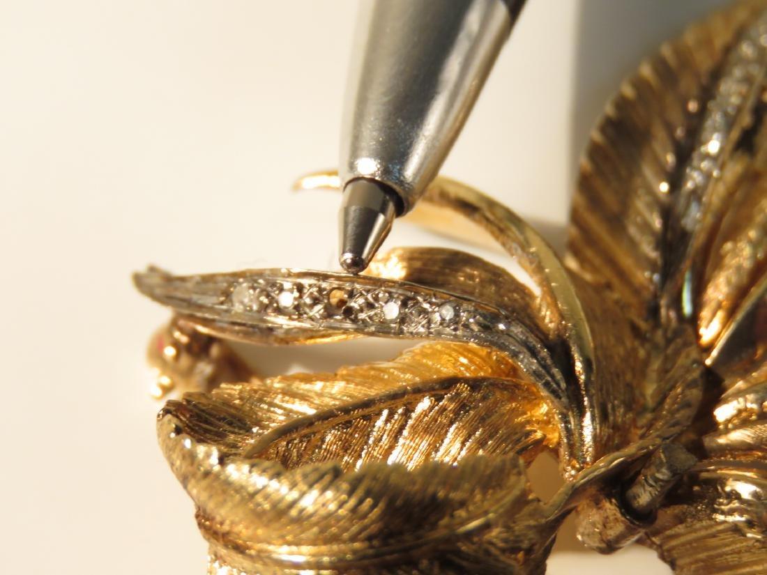 LADIES 14K YELLOW GOLD & DIAMOND BROOCH 15.7 G - 2
