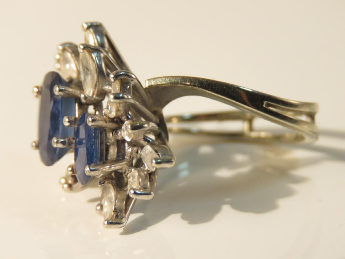 18K WHITE GOLD SAPPHIRE & DIAMOND COCKTAIL RING - 3