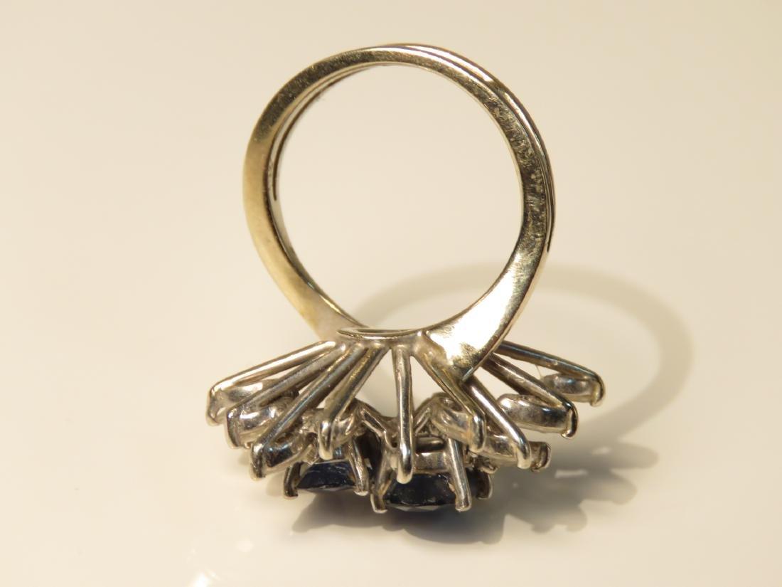18K WHITE GOLD SAPPHIRE & DIAMOND COCKTAIL RING - 4