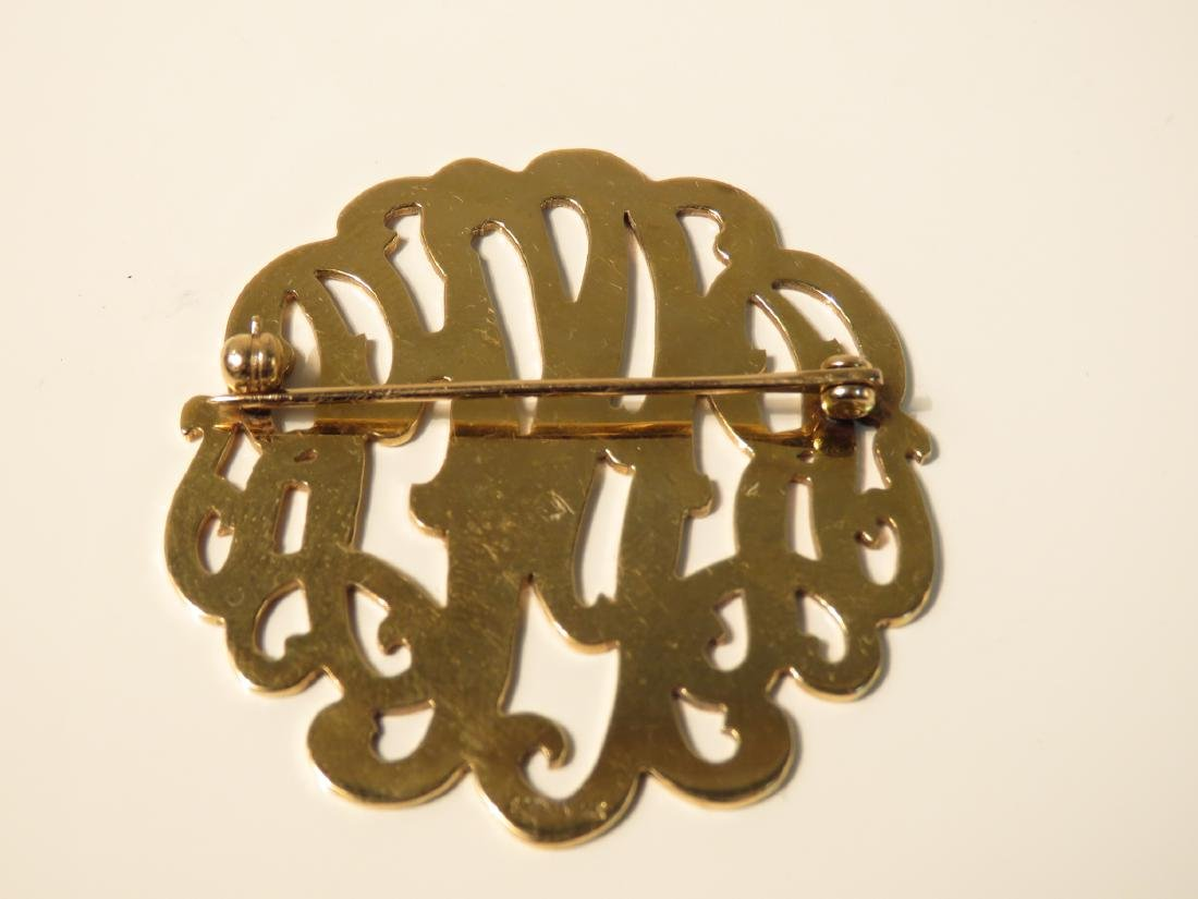 LADIES 14K YELLOW GOLD MONOGRAM BROOCH 12.7 G - 2