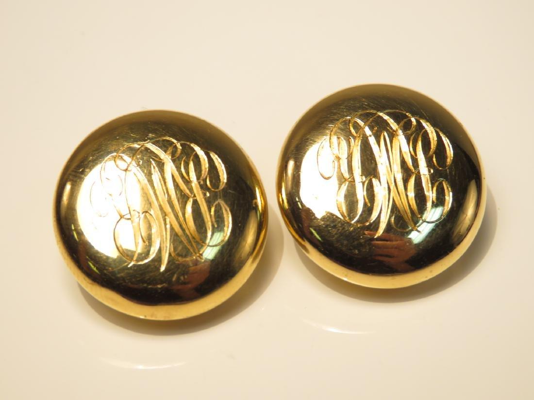 LADIES 18K YELLOW GOLD MONOGRAMMED EARRINGS 14.4G