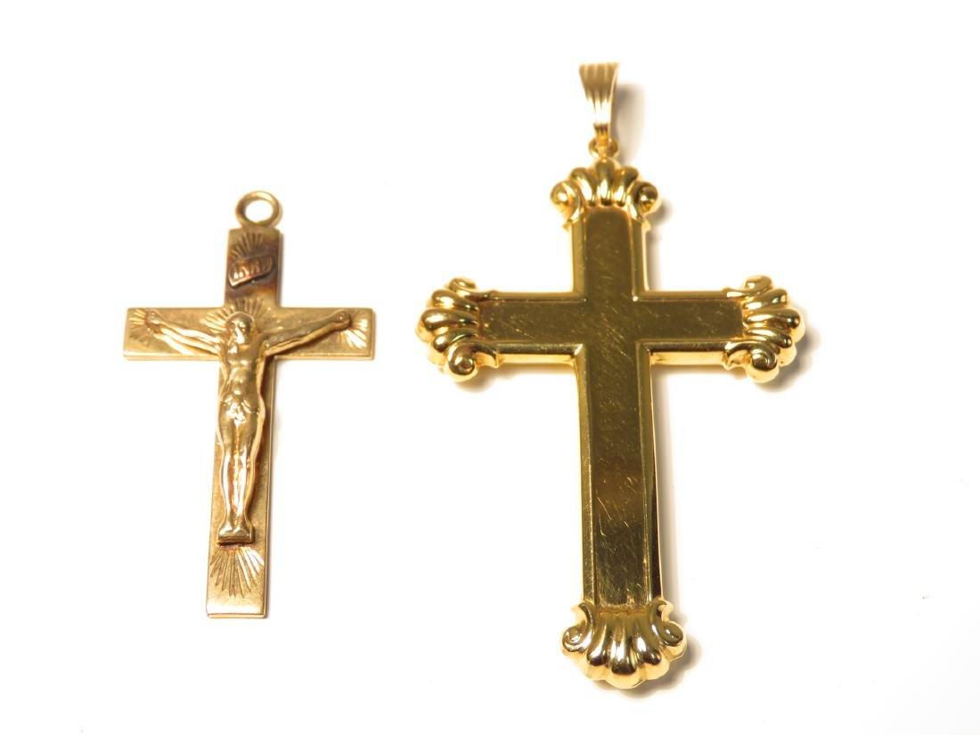 TWO 14K YELLOW GOLD CRUCIFIX PENDANTS 11.3 GRAMS