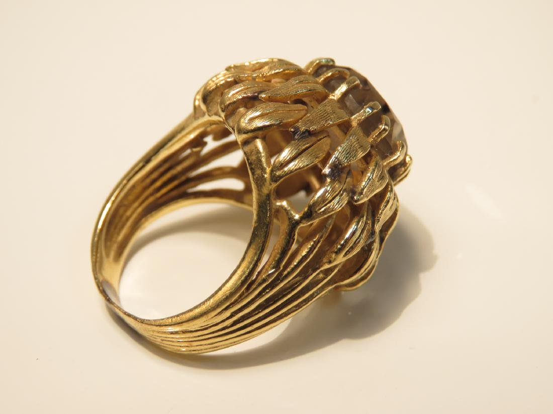 LADIES 14K YELLOW GOLD & QUARTZ COCKTAIL RING SZ 7 - 3