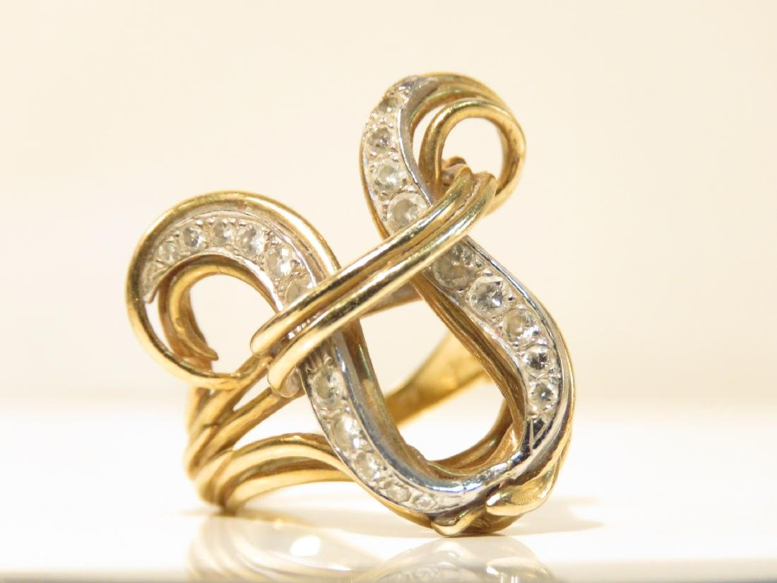 LADIES vintage 14K YELLOW GOLD & DIAMOND RING SIZE 6.5