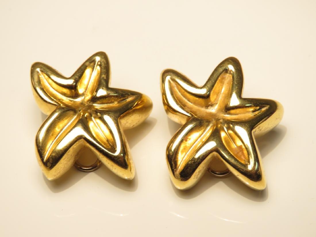 PAIR LADIES 18K YELLOW GOLD STAR EARRINGS 8.9G