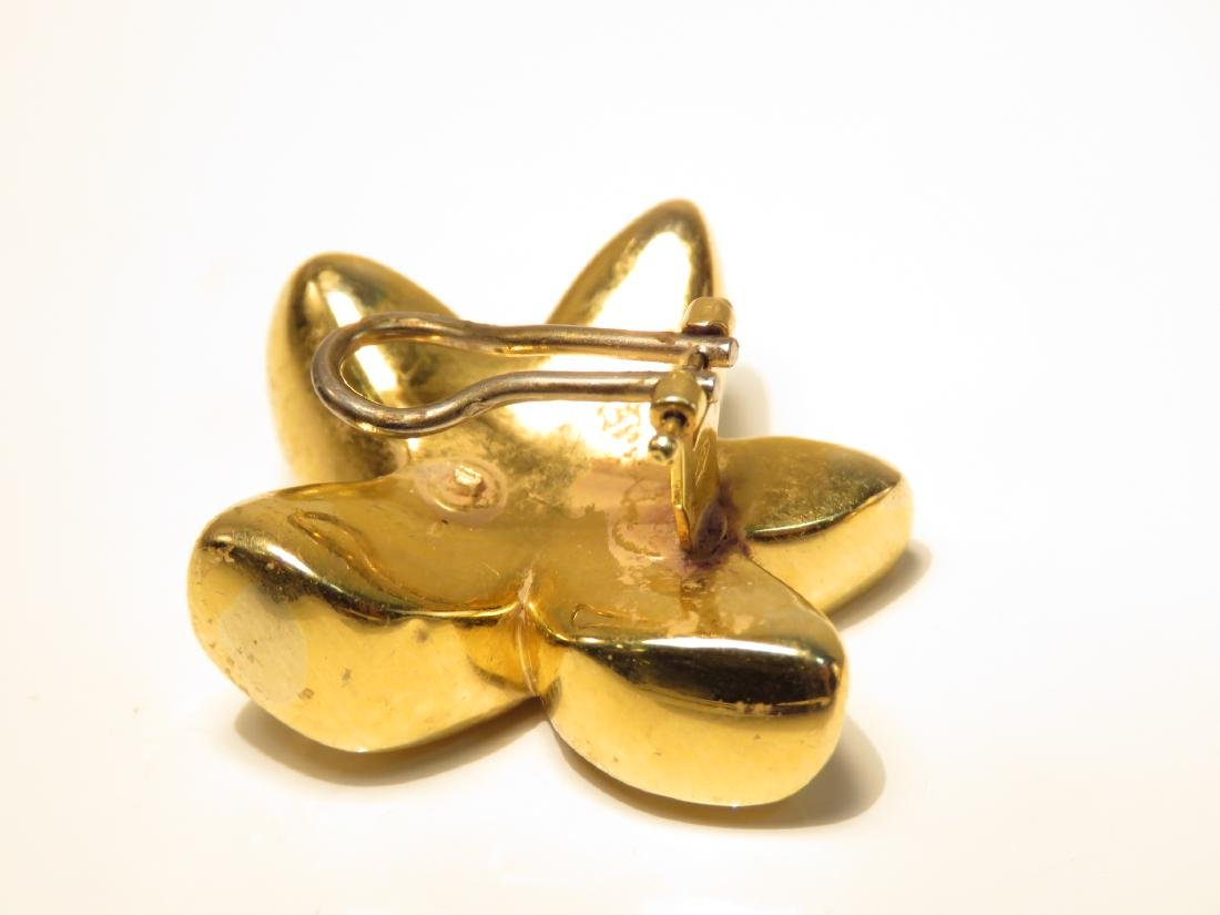 PAIR LADIES 18K YELLOW GOLD STAR EARRINGS 8.9G - 2