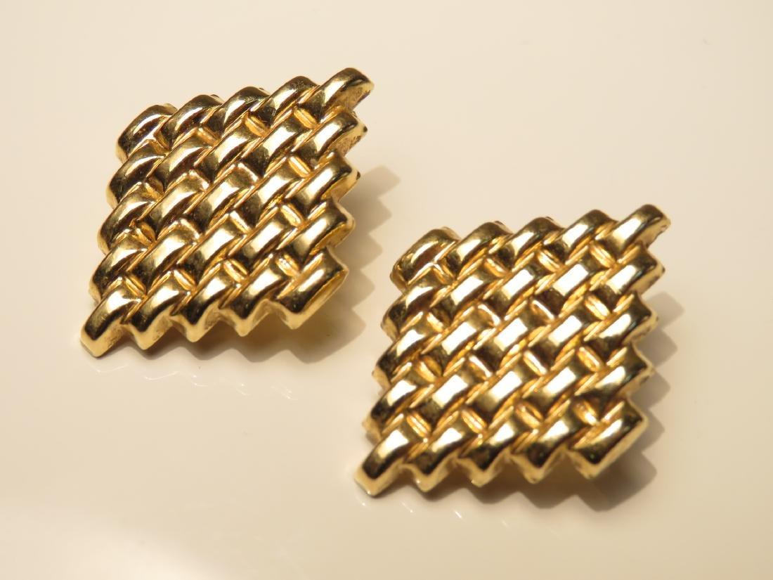 PAIR LADIES 14K GOLD WEAVE PATTERN EARRINGS 7.1G