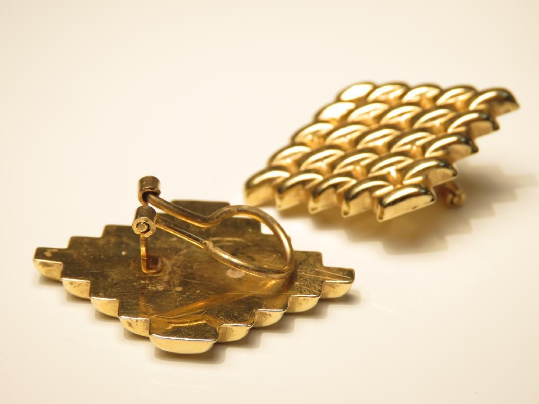 PAIR LADIES 14K GOLD WEAVE PATTERN EARRINGS 7.1G - 2