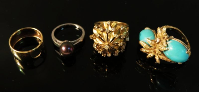 FOUR 14K GOLD RINGS: TURQUOISE DIAMOND, PEARL 26+g