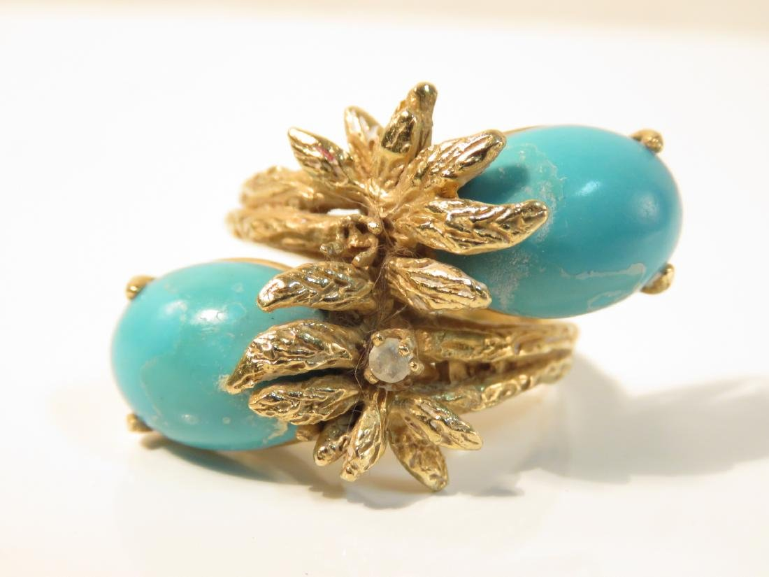 FOUR 14K GOLD RINGS: TURQUOISE DIAMOND, PEARL 26+g - 8