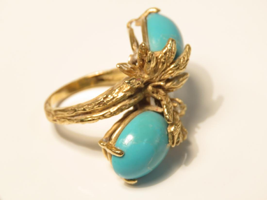 FOUR 14K GOLD RINGS: TURQUOISE DIAMOND, PEARL 26+g - 9