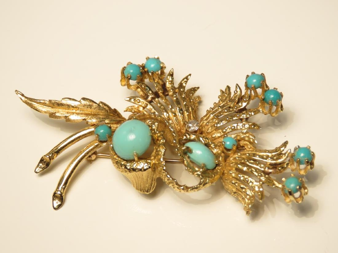 LADIES HEAVY 14K YELLOW GOLD & TURQUOISE BROOCH