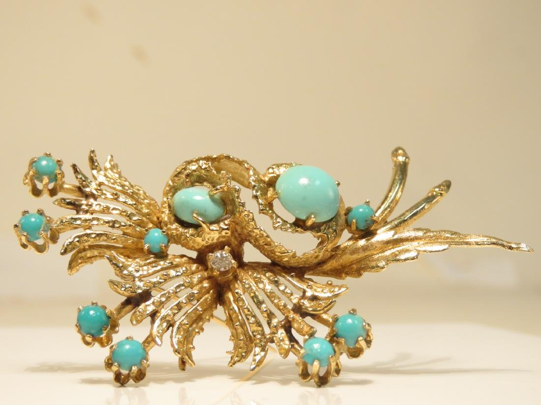 LADIES HEAVY 14K YELLOW GOLD & TURQUOISE BROOCH - 2