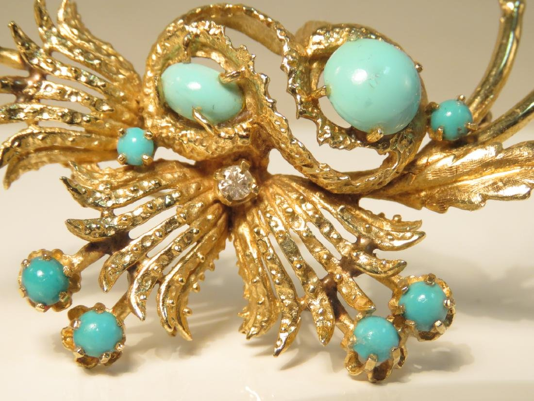 LADIES HEAVY 14K YELLOW GOLD & TURQUOISE BROOCH - 3