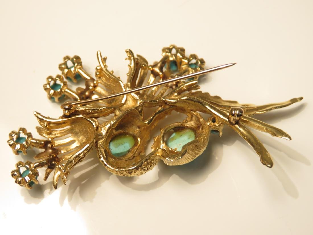 LADIES HEAVY 14K YELLOW GOLD & TURQUOISE BROOCH - 4
