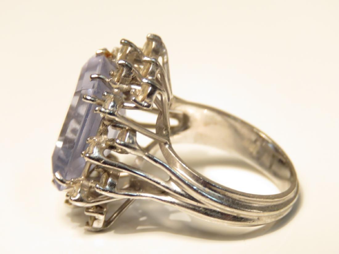 LADIES 10K W GOLD DIAMOND AQUAMARINE COCKTAIL RING