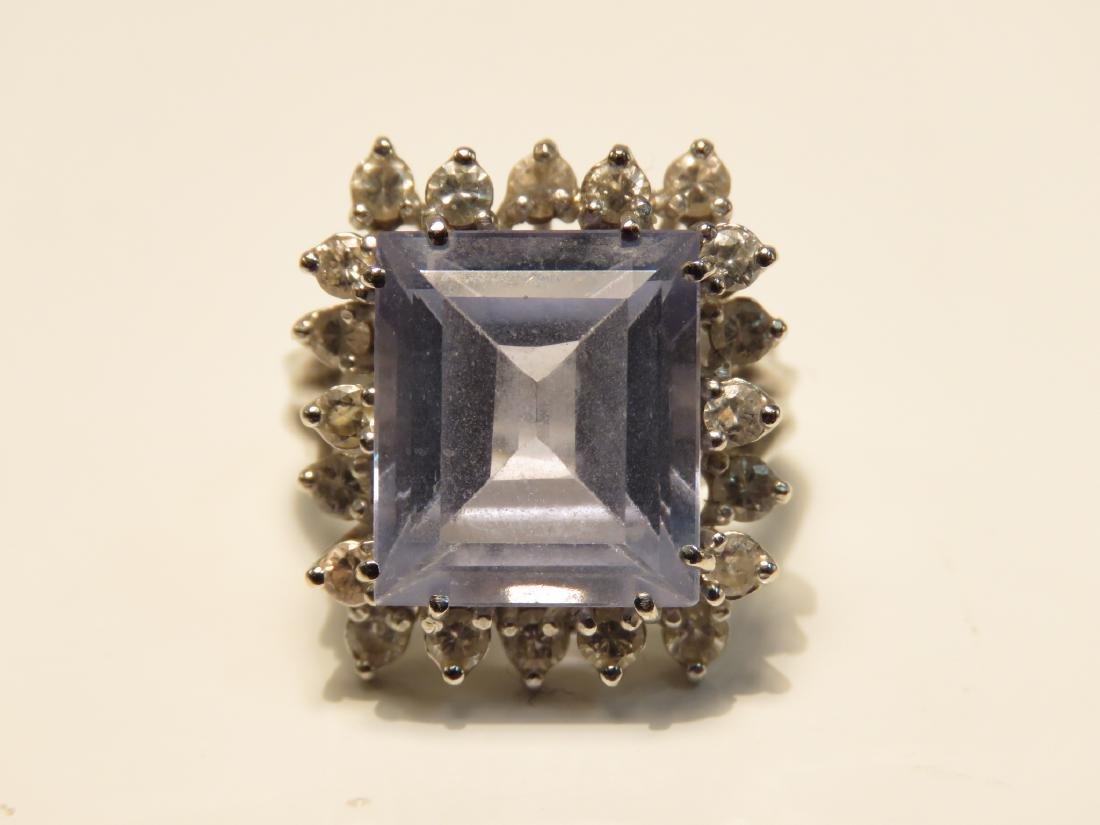 LADIES 10K W GOLD DIAMOND AQUAMARINE COCKTAIL RING - 2