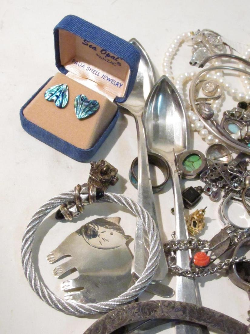 LARGE GROUP OF STERLING & OTHER COSTUME JEWELRY - 10