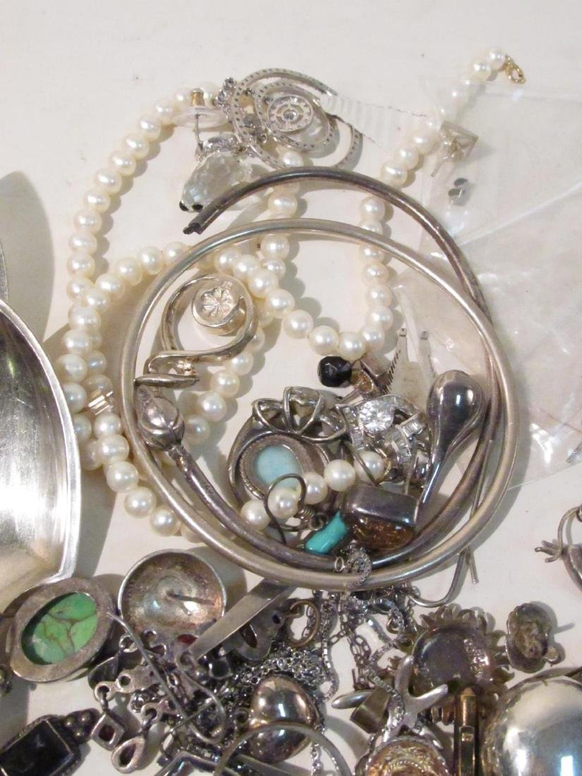 LARGE GROUP OF STERLING & OTHER COSTUME JEWELRY - 11