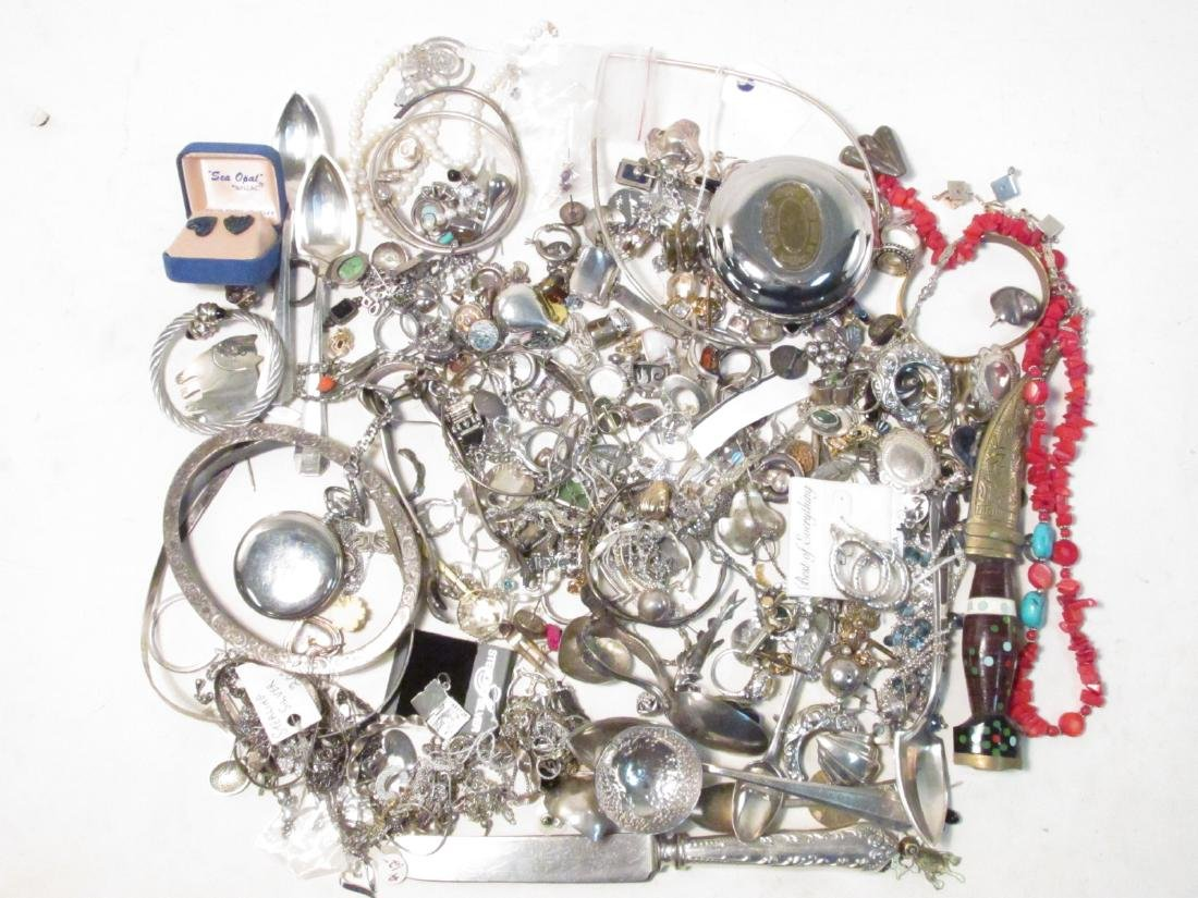 LARGE GROUP OF STERLING & OTHER COSTUME JEWELRY