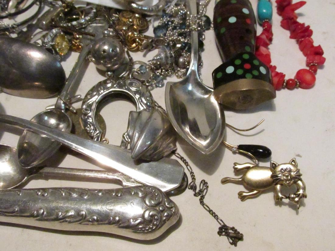 LARGE GROUP OF STERLING & OTHER COSTUME JEWELRY - 2