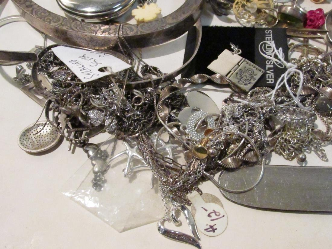 LARGE GROUP OF STERLING & OTHER COSTUME JEWELRY - 4