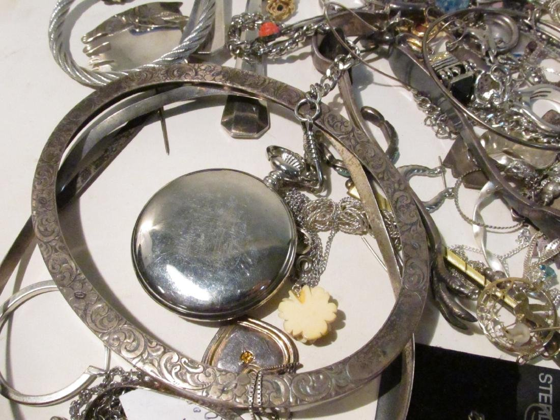 LARGE GROUP OF STERLING & OTHER COSTUME JEWELRY - 5